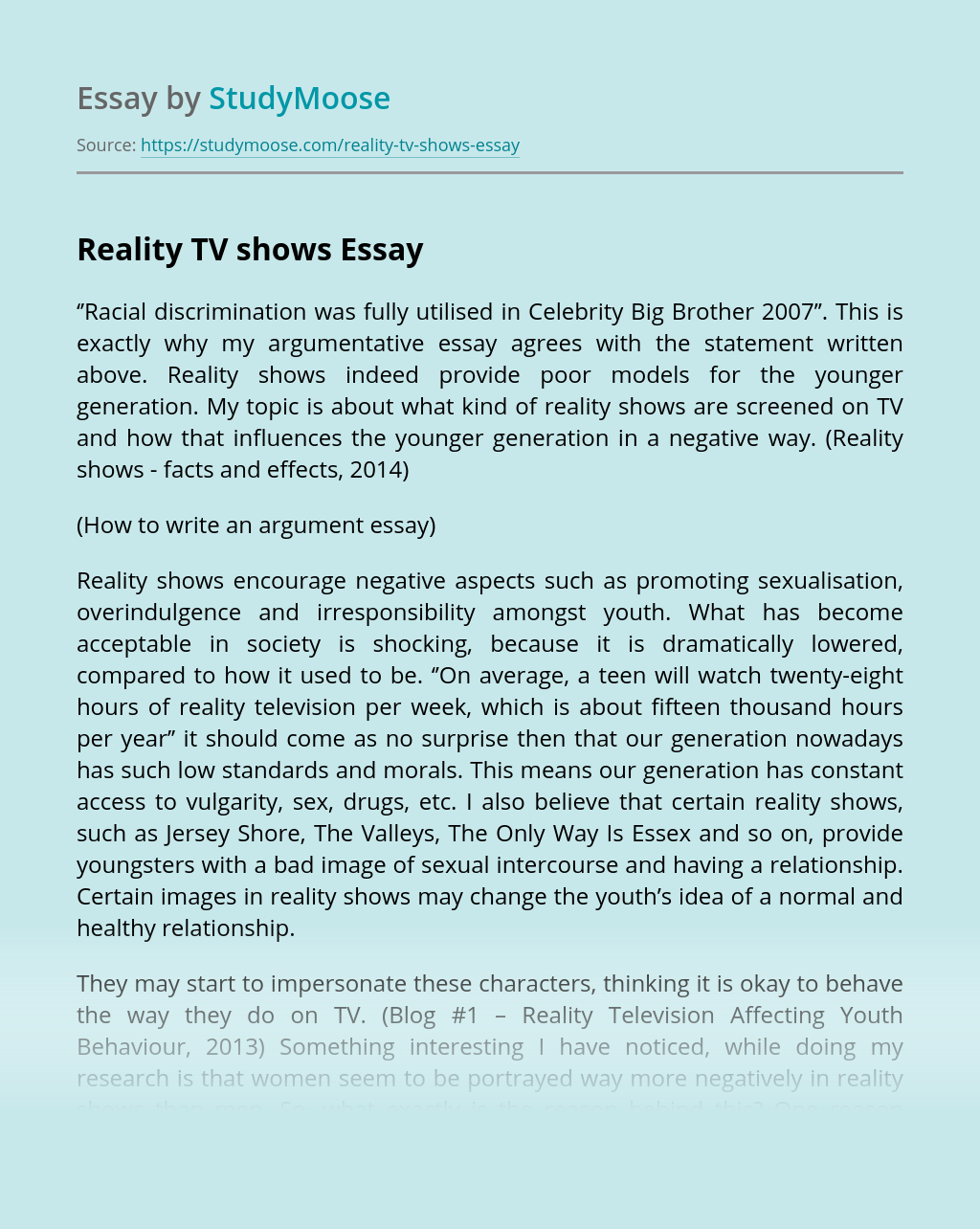 Essays on reality tv