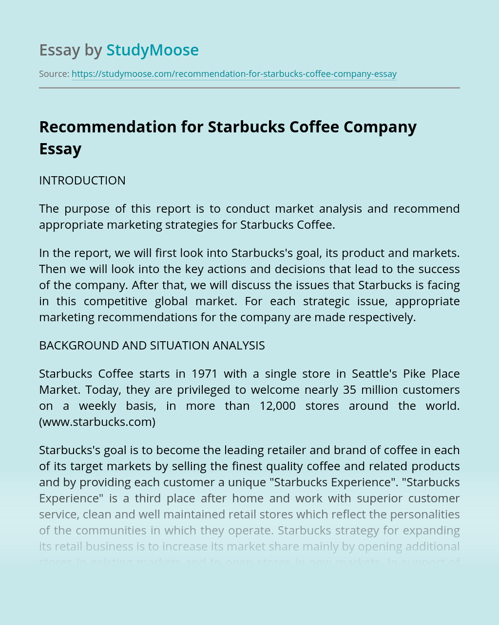 Recommendation for Starbucks Coffee Company