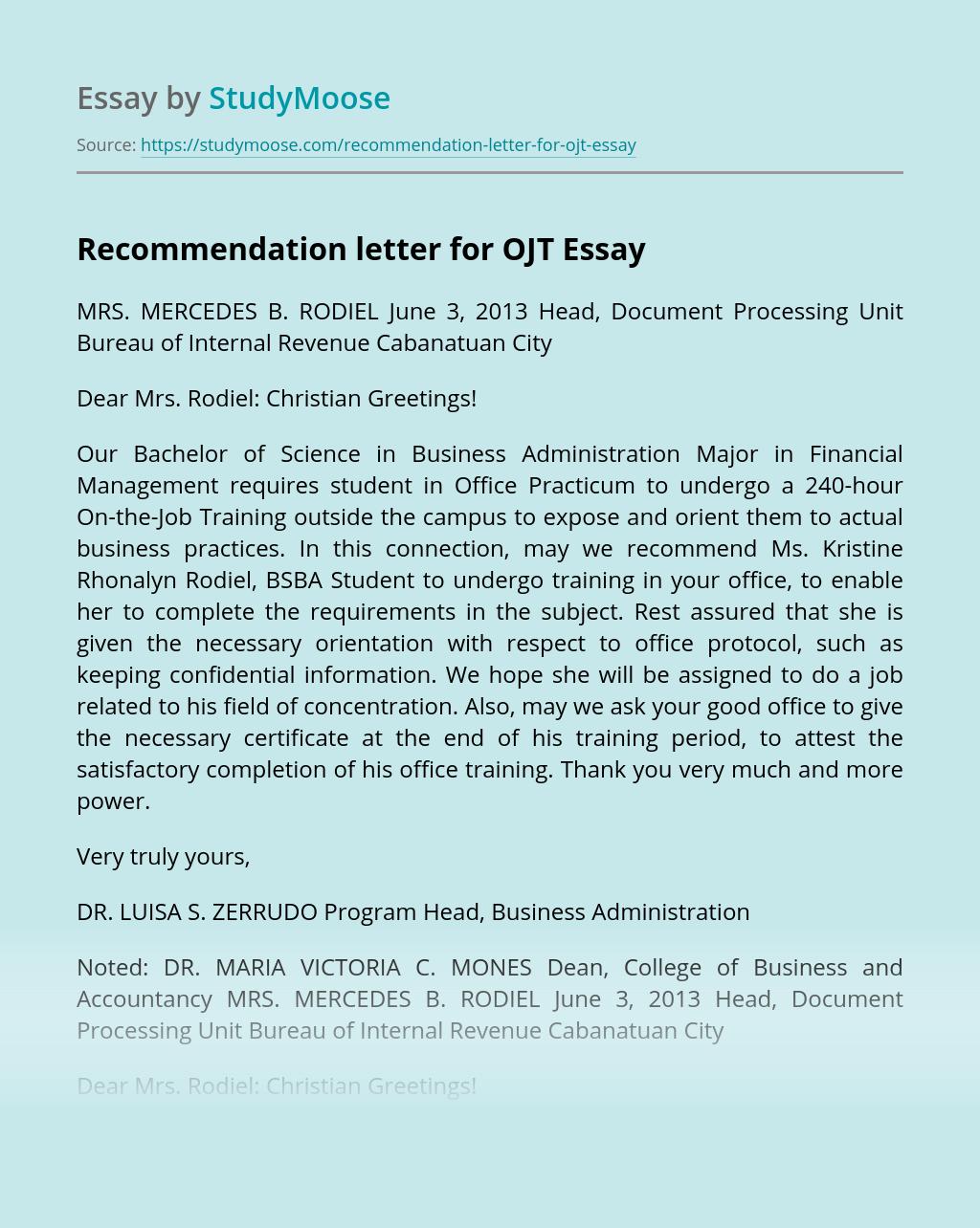 Recommendation letter for OJT
