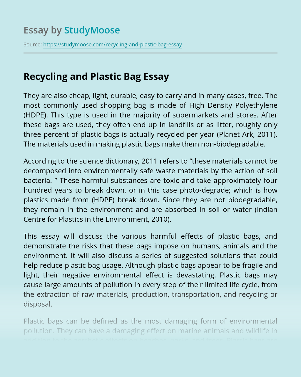 Recycling and Plastic Bag