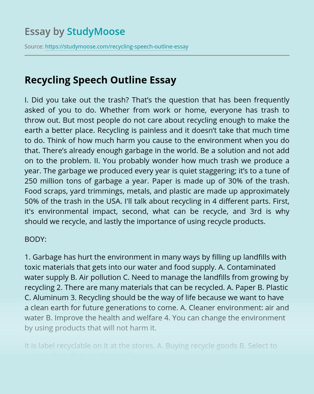 Recycling Speech Outline