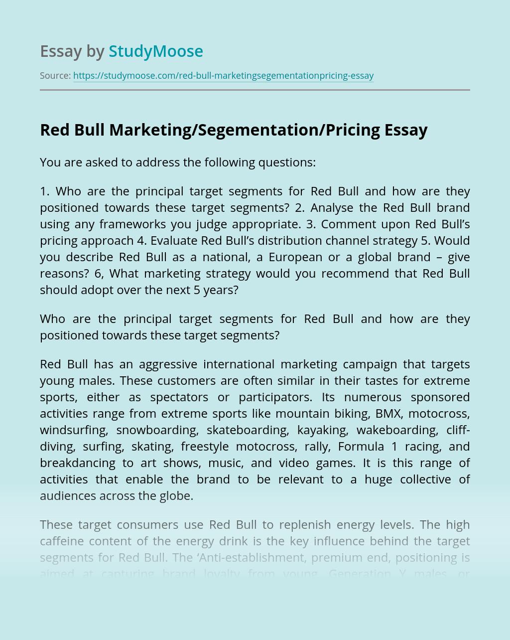 Red Bull Marketing/Segementation/Pricing