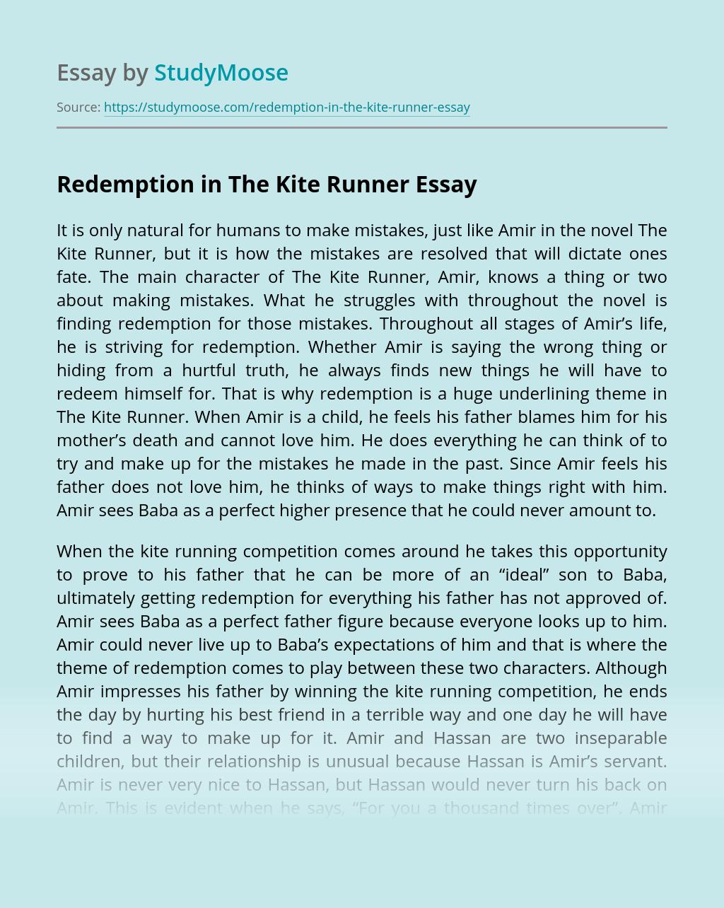 Redemption in The Kite Runner