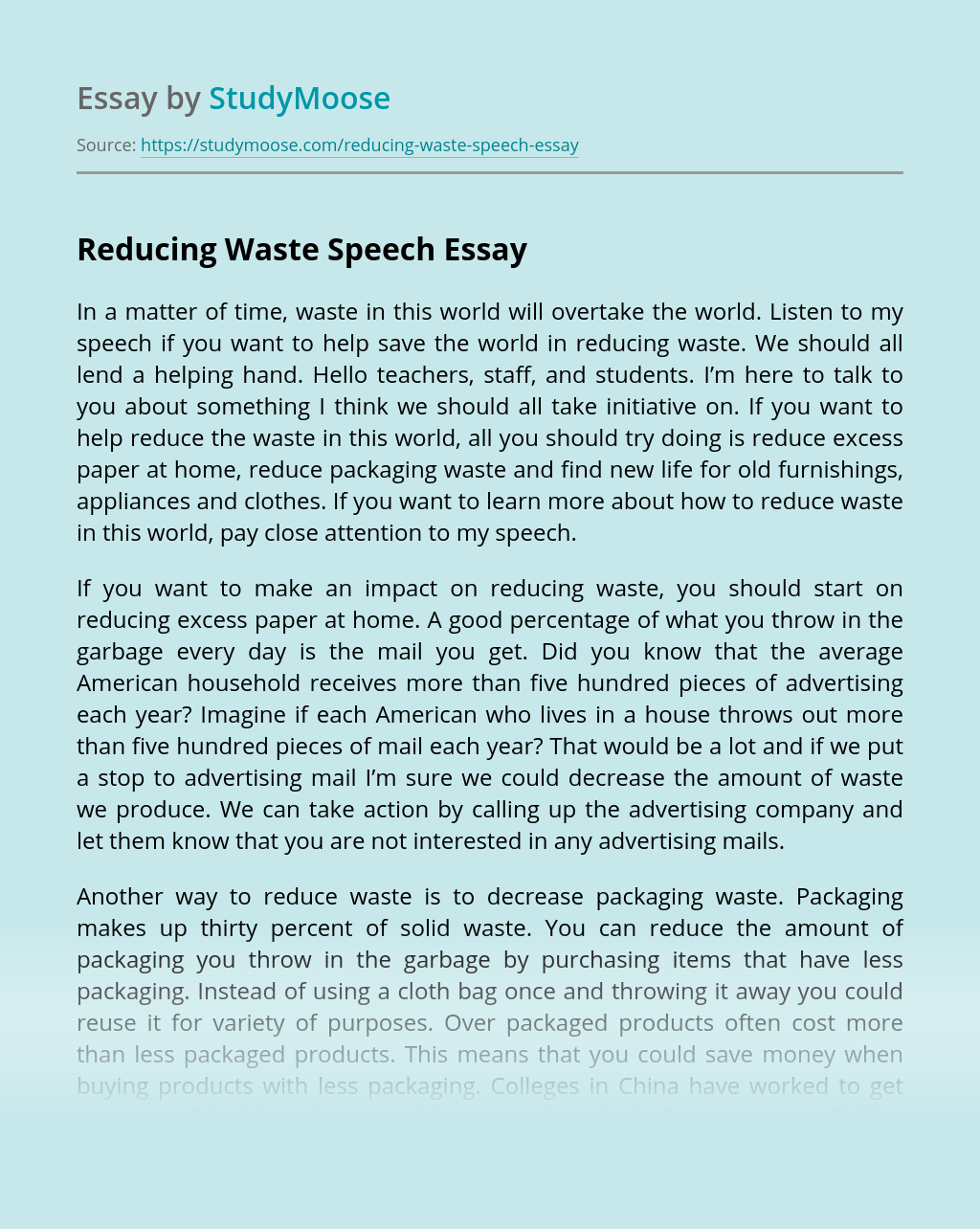 Reducing Waste Speech