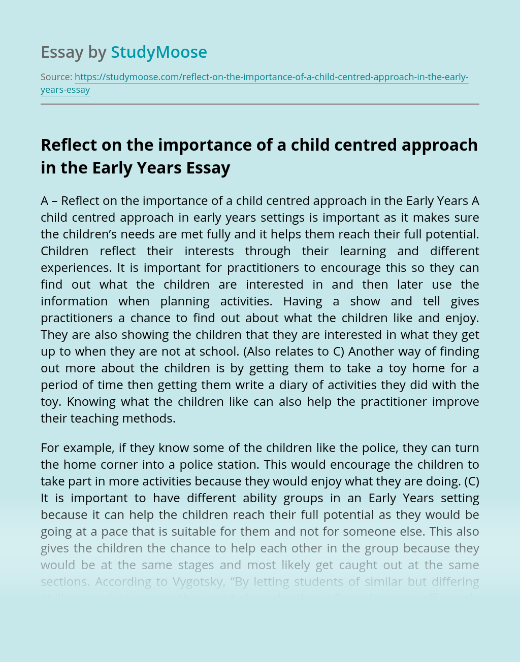 Reflect on the importance of a child centred approach in the Early Years