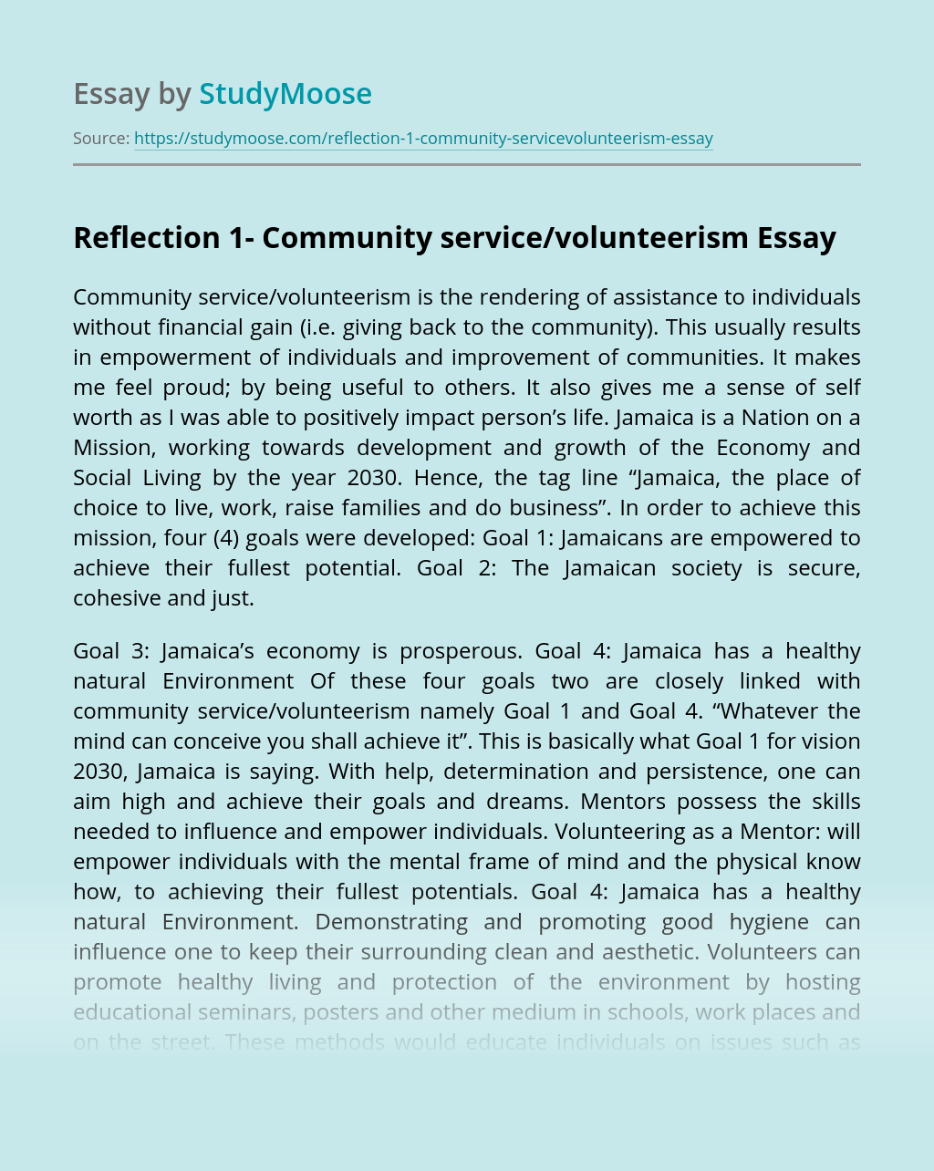 Community service reaction essay