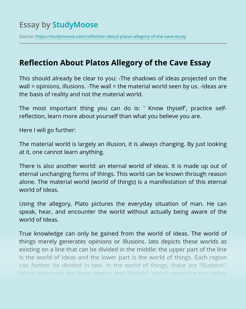 Reflection About Platos Allegory of the Cave