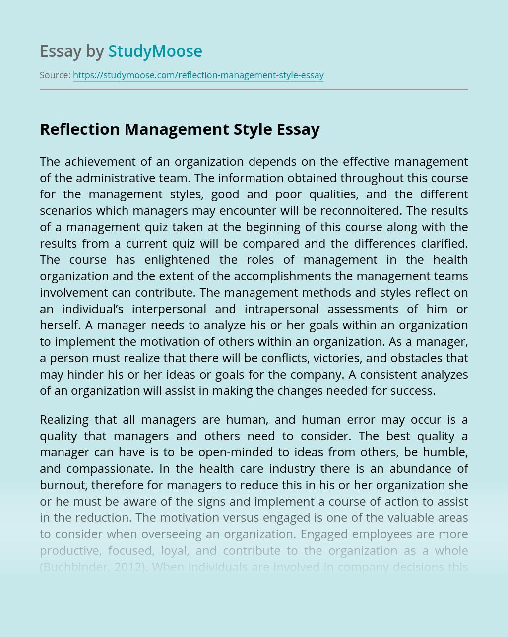 Reflection Management Style