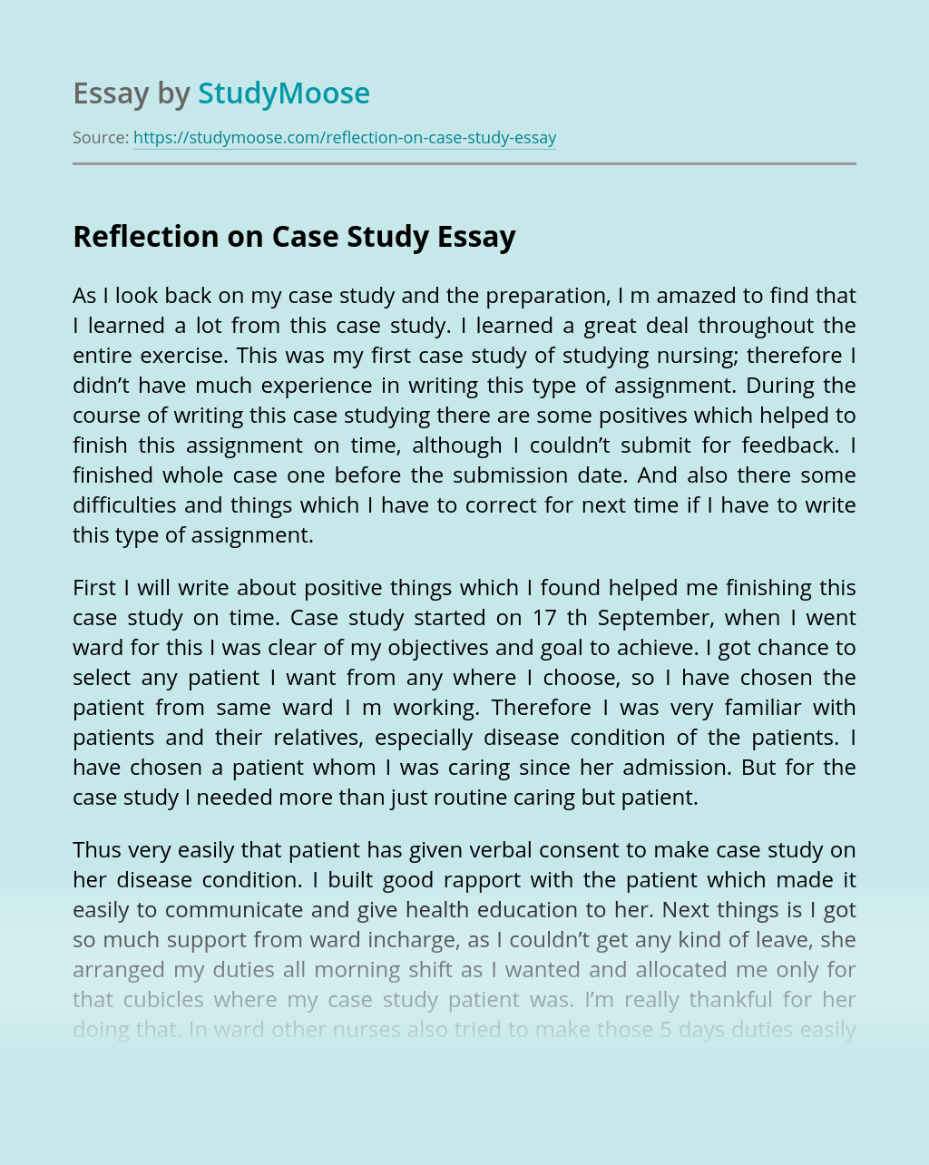 Reflection on Case Study
