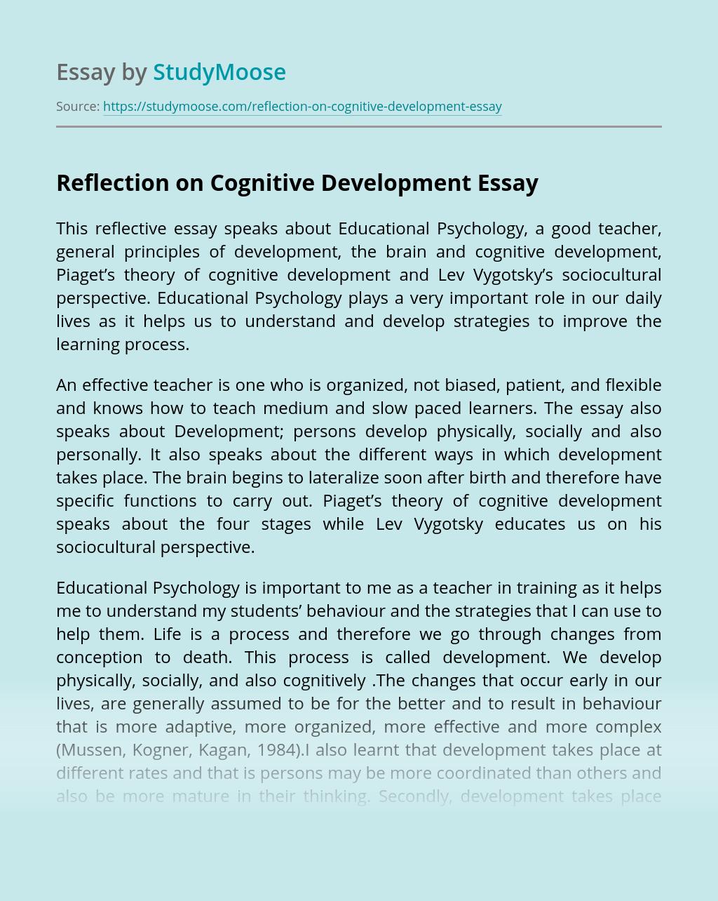 Reflection on Cognitive Development