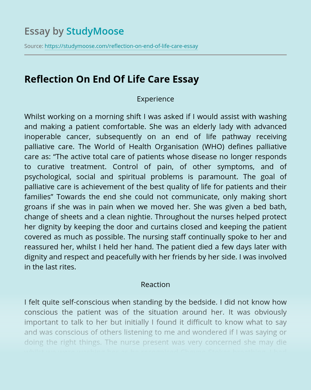 Reflection On End Of Life Care