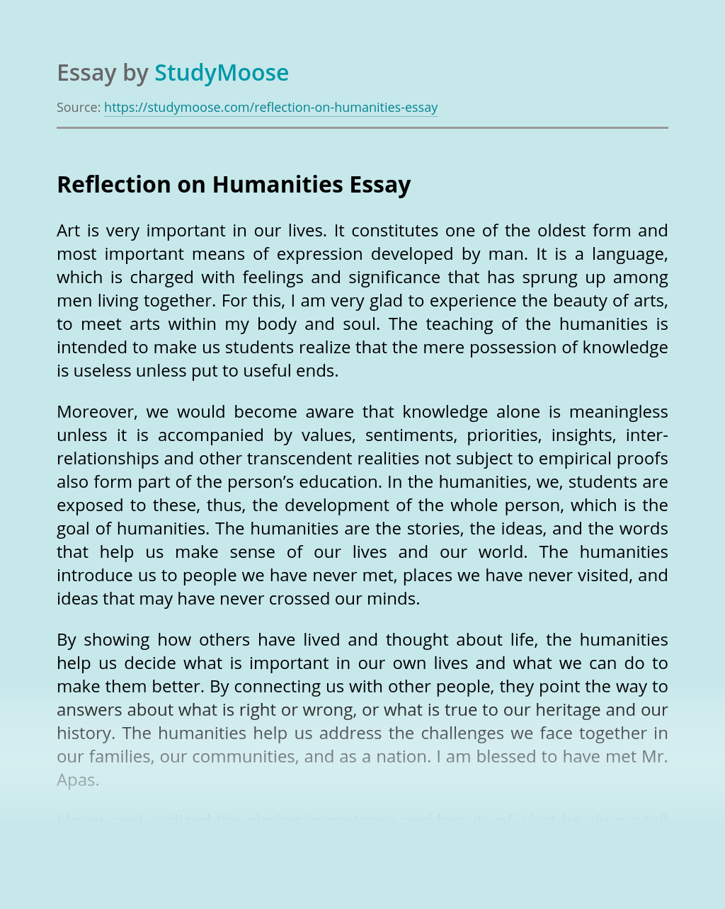 Reflection on Humanities