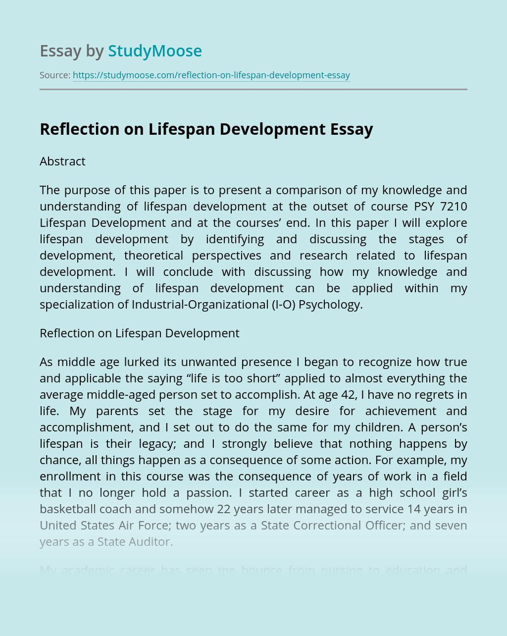 Reflection on Lifespan Development