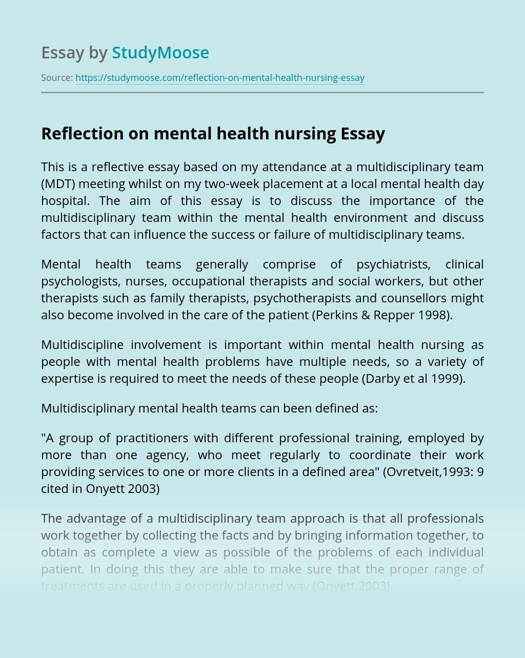 Reflection on mental health nursing