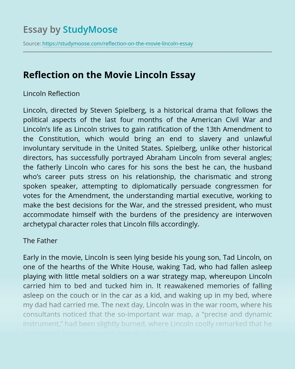 help writing cheap reflective essay on lincoln