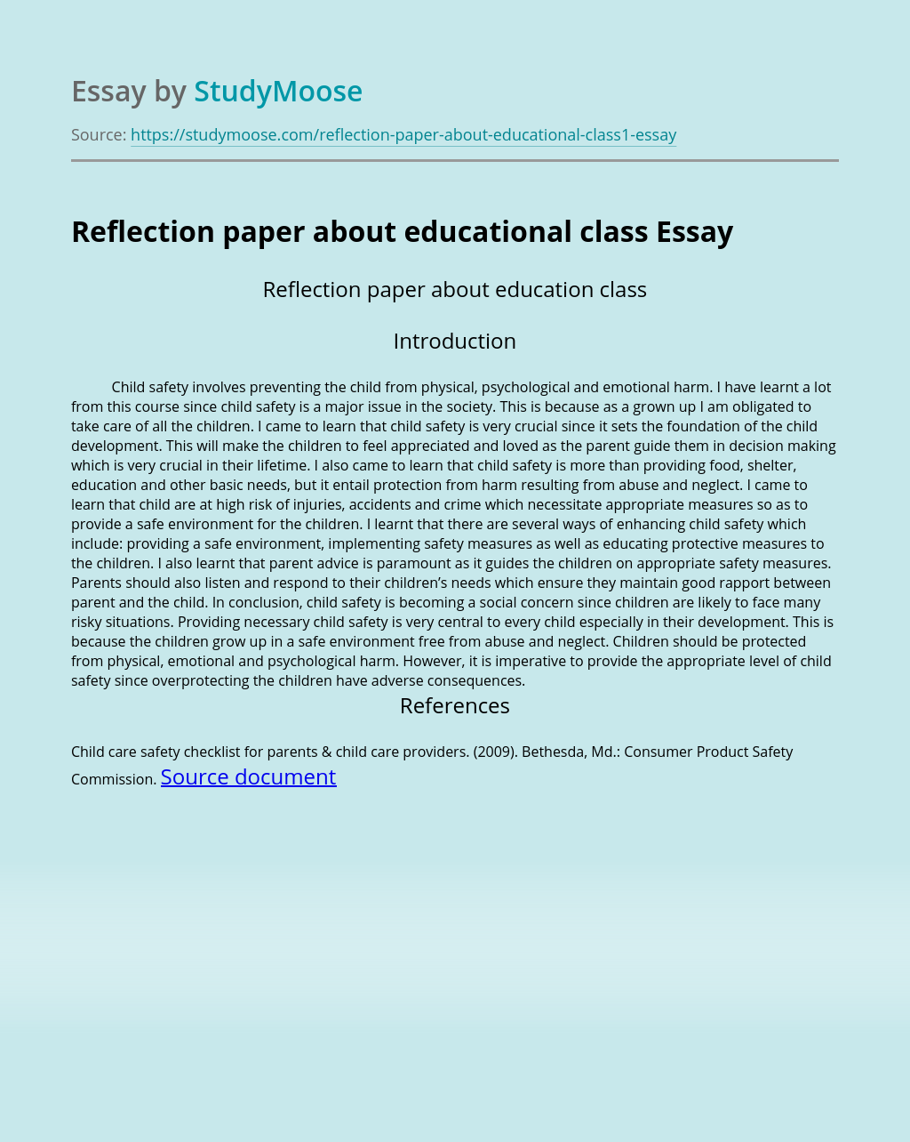 Reflection paper about educational class