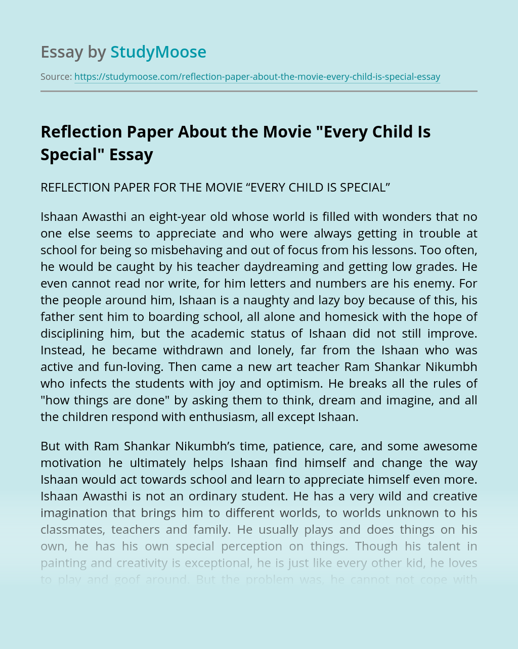 "Reflection Paper About the Movie ""Every Child Is Special"""