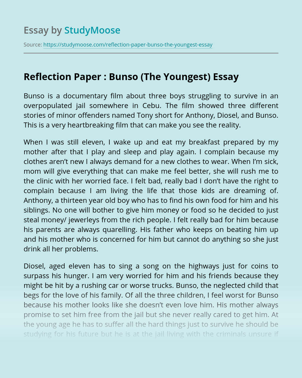 Reflection Paper : Bunso (The Youngest)