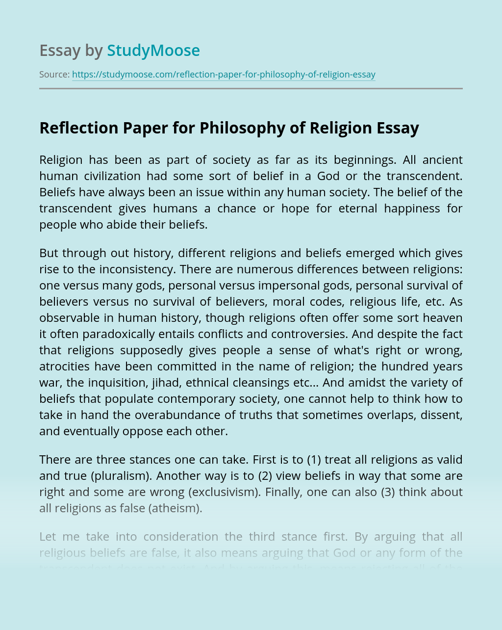 Reflection Paper for Philosophy of Religion
