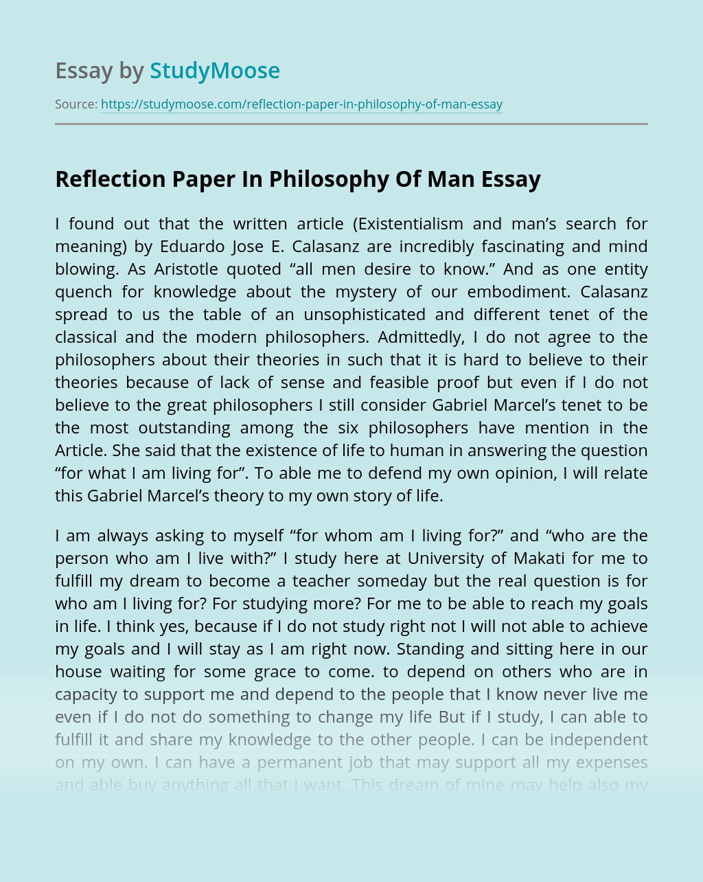 Reflection Paper In Philosophy Of Man