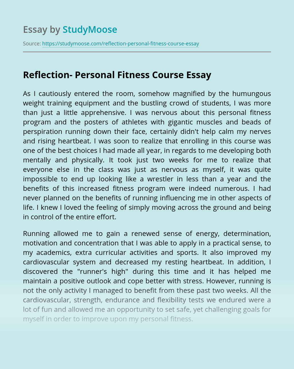 Reflection- Personal Fitness Course