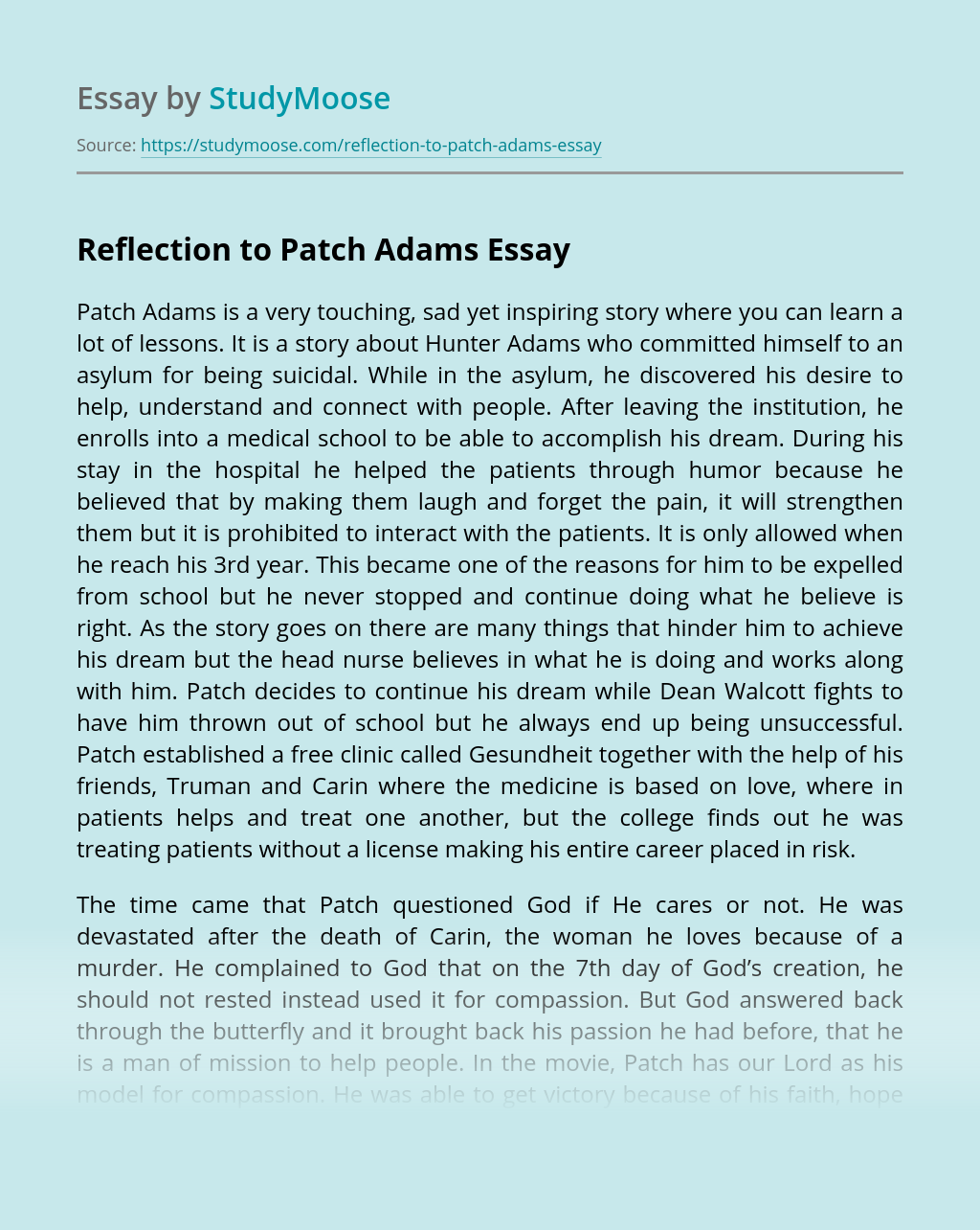 Reflection to Patch Adams