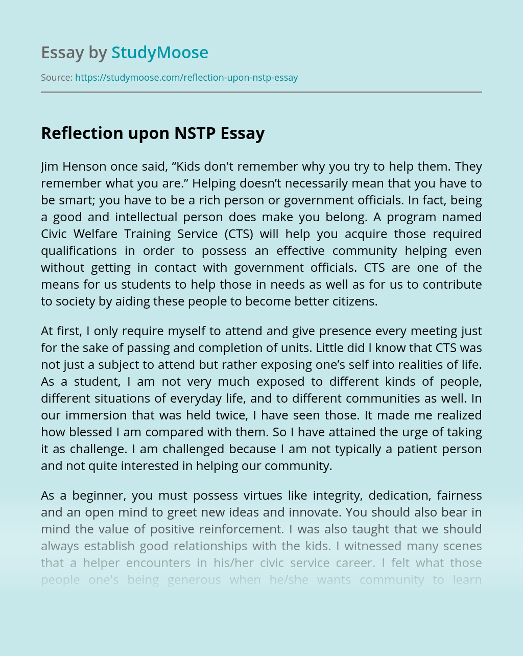 Reflection upon NSTP