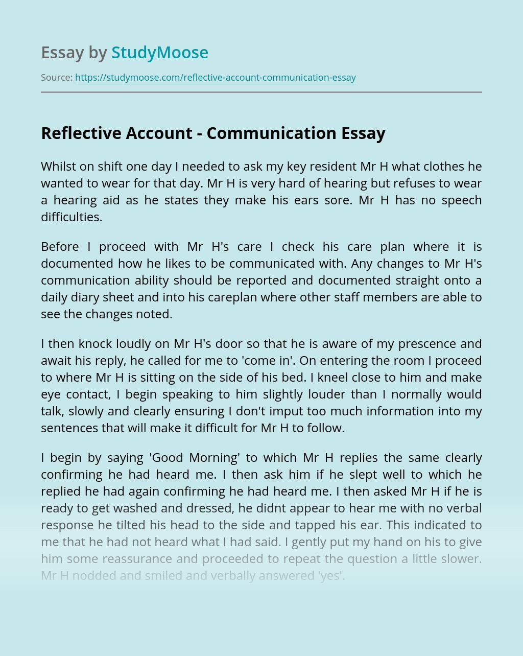 Reflective Account - Communication