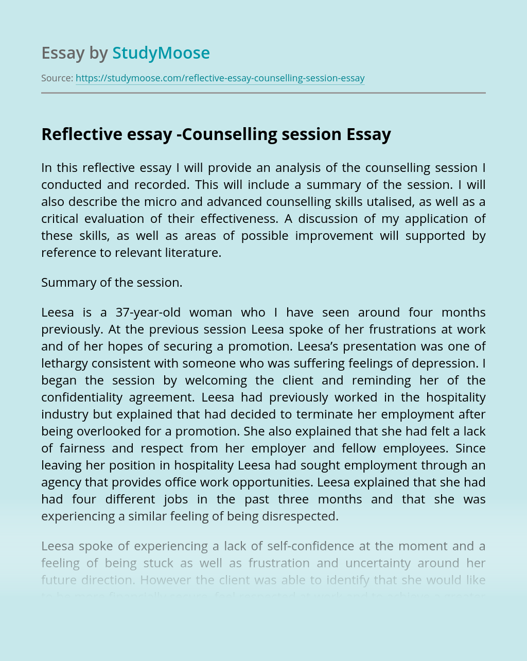 Reflective essay -Counselling session