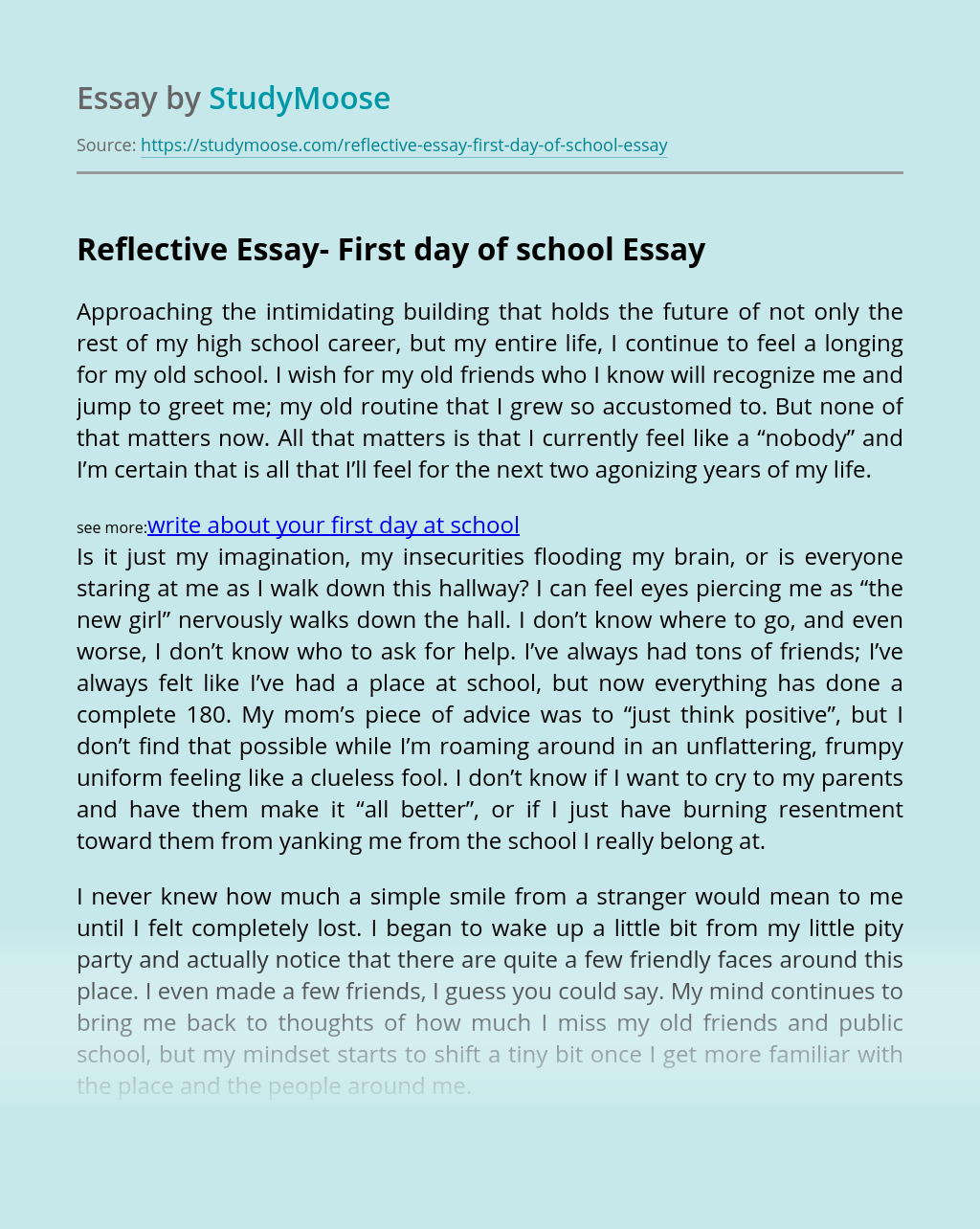 Reflective Essay- First day of school