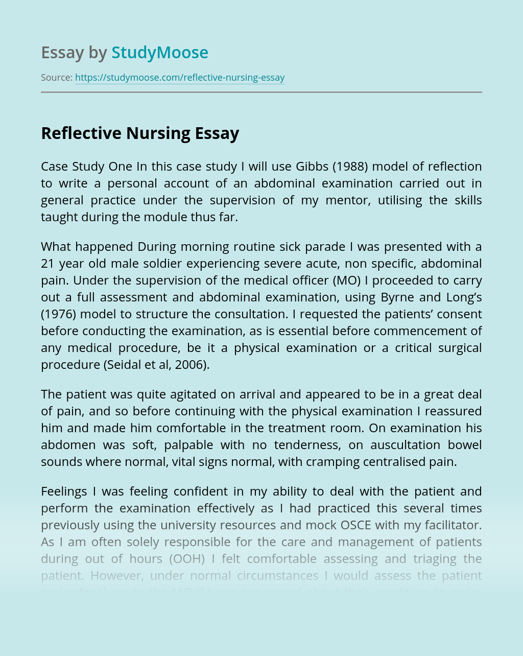 Reflective Nursing