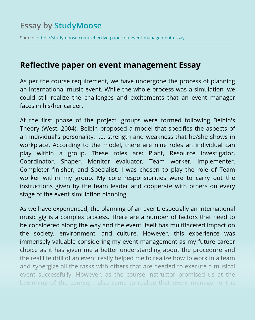 Reflective paper on event management
