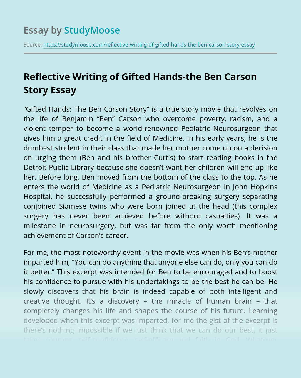 Reflective Writing of Gifted Hands-the Ben Carson Story