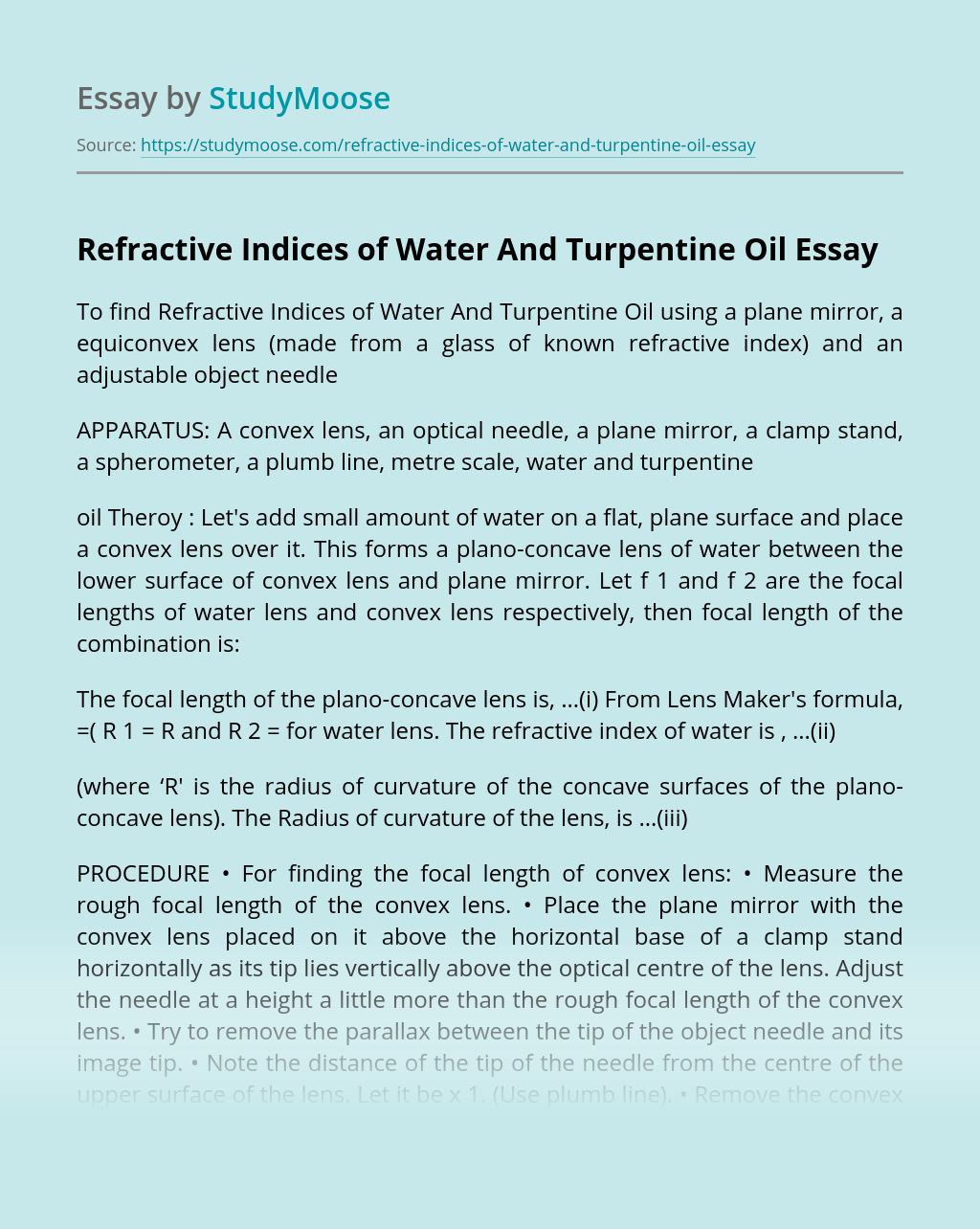 Refractive Indices of Water And Turpentine Oil