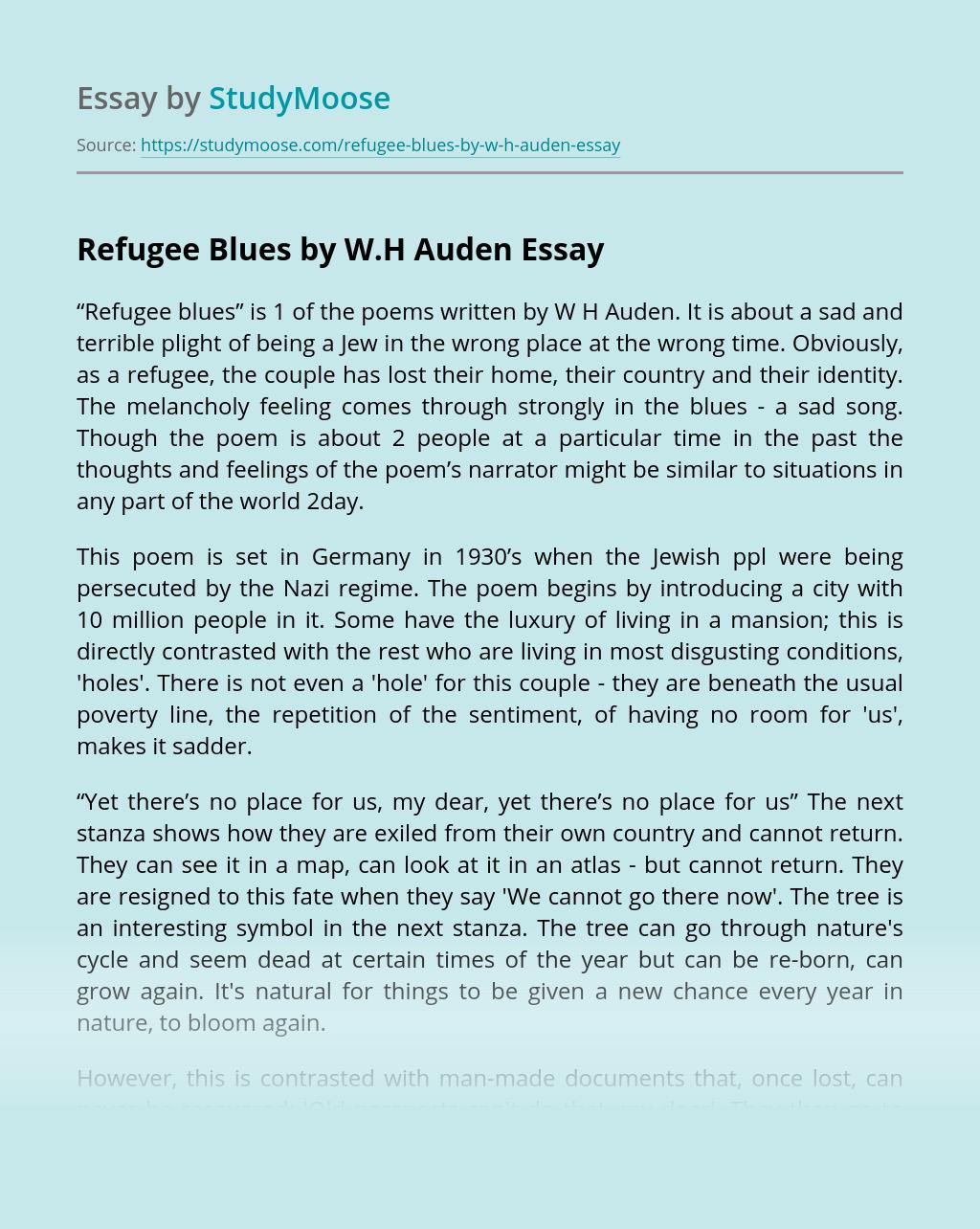 Refugee Blues by W.H Auden