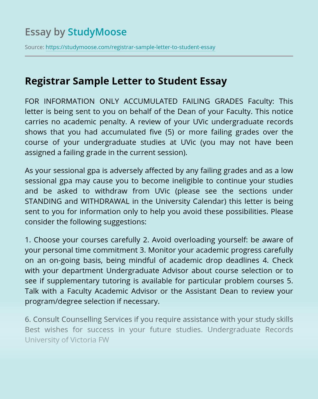 Registrar Sample Letter to Student