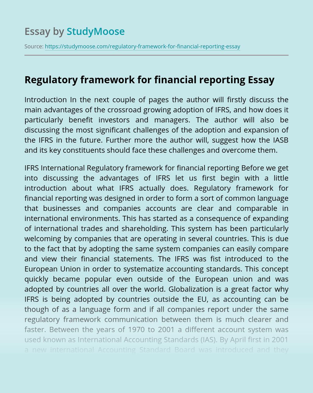 Regulatory Framework for Financial Reporting