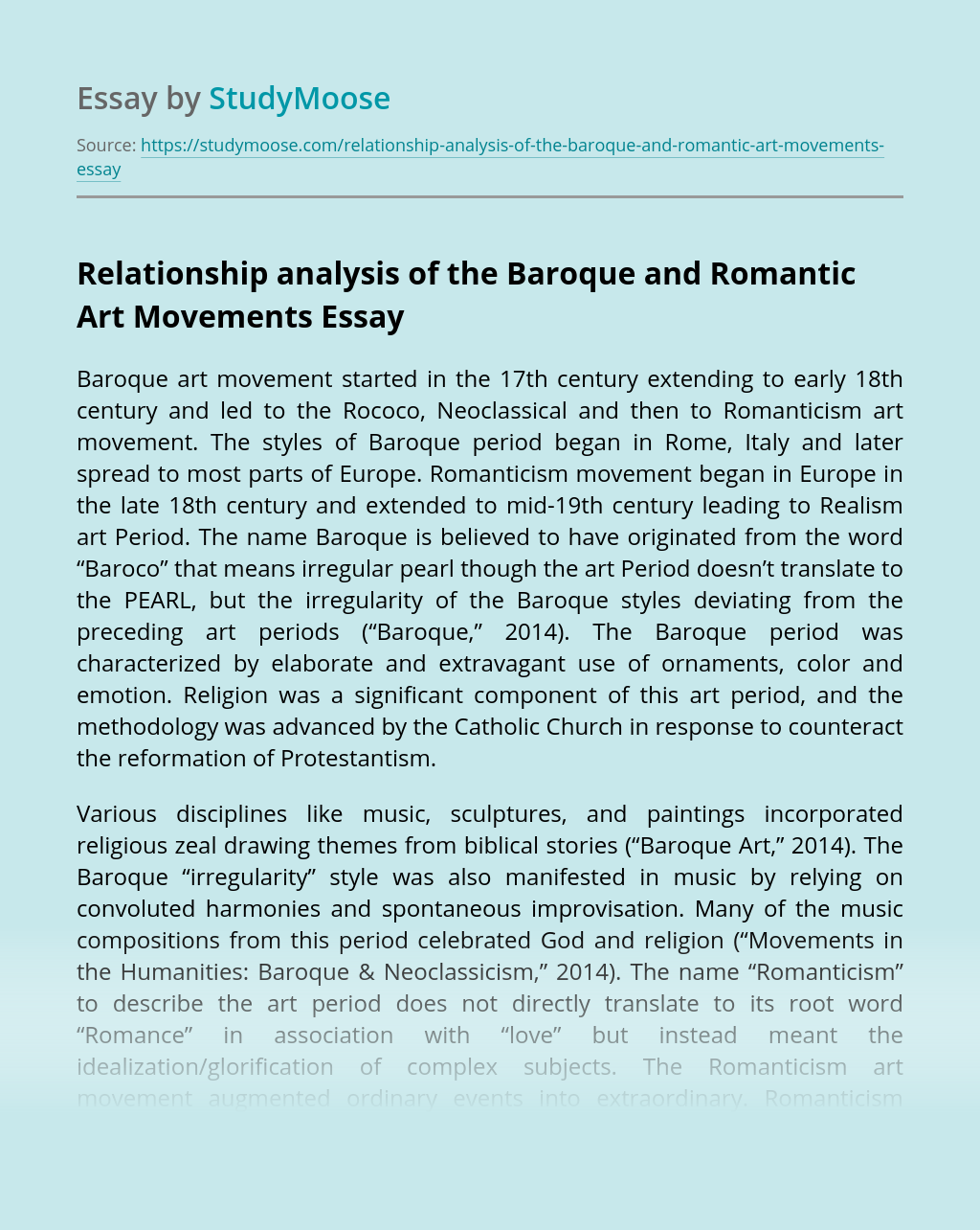 Relationship analysis of the Baroque and Romantic Art Movements