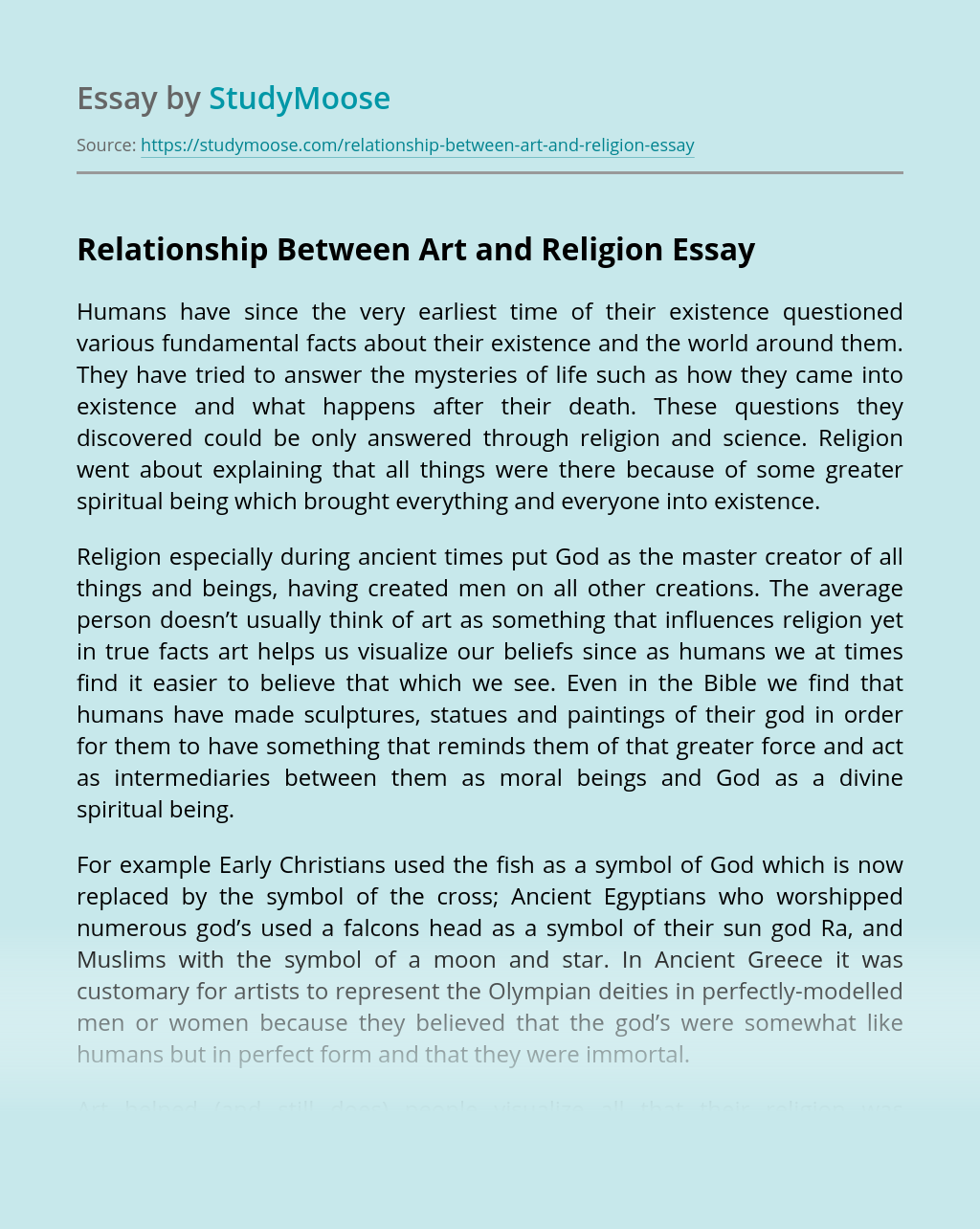 Relationship Between Art and Religion
