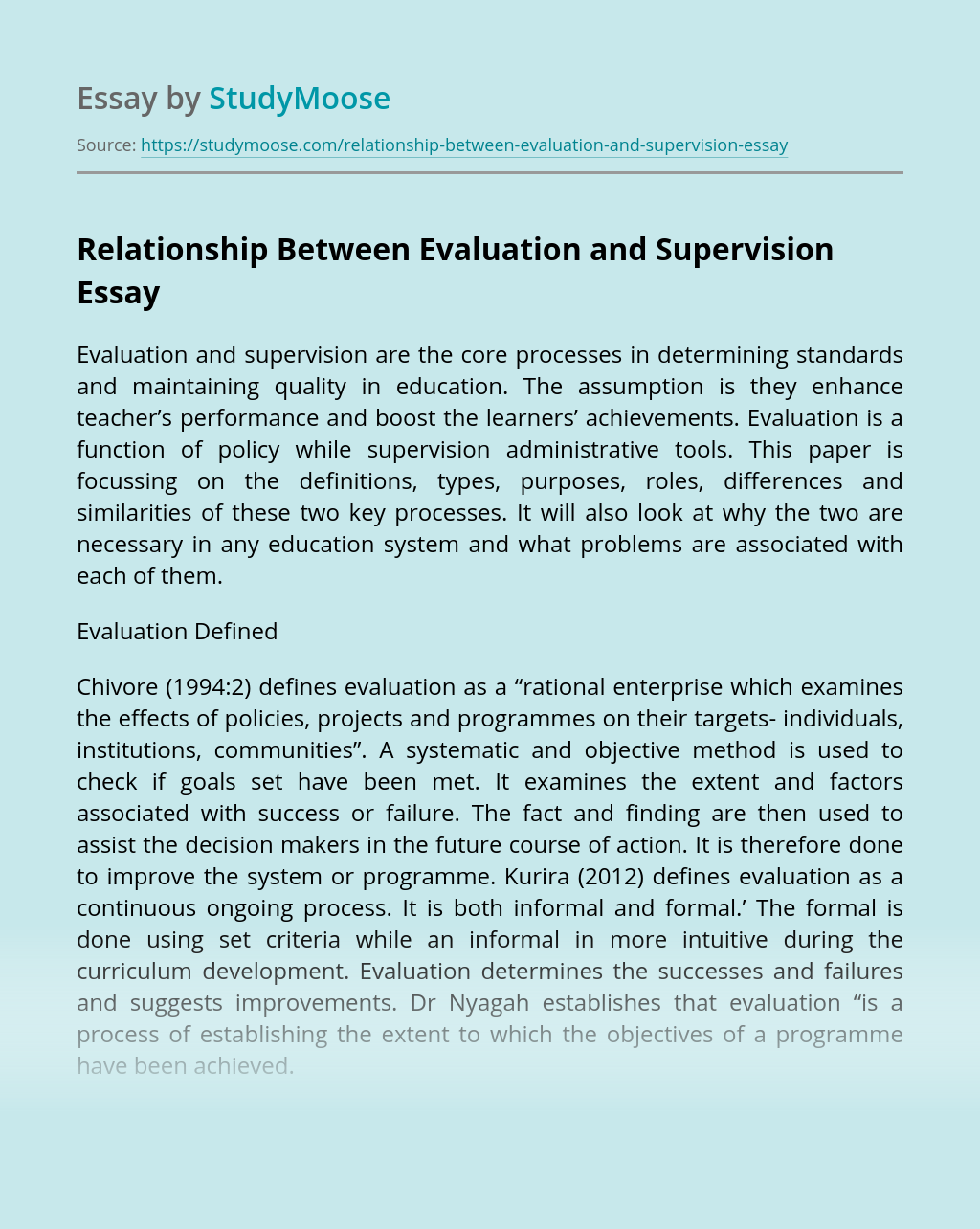 Relationship Between Evaluation and Supervision