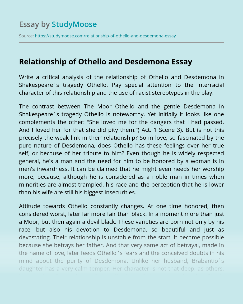 Relationship of Othello and Desdemona