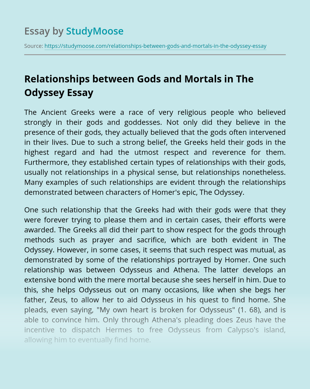 Relationships between Gods and Mortals in The Odyssey
