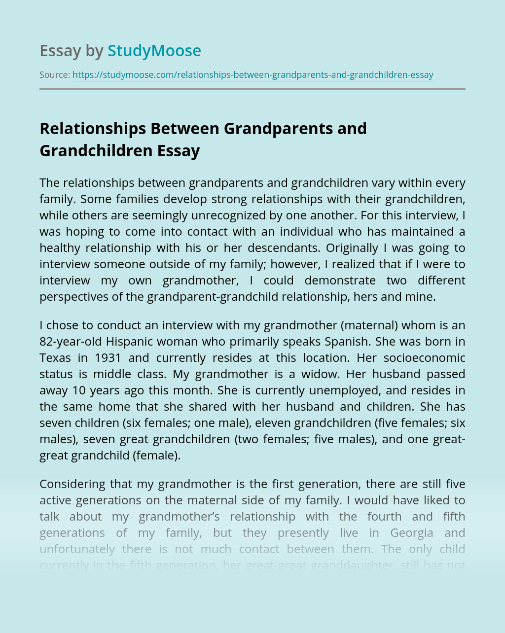 Relationships Between Grandparents and Grandchildren
