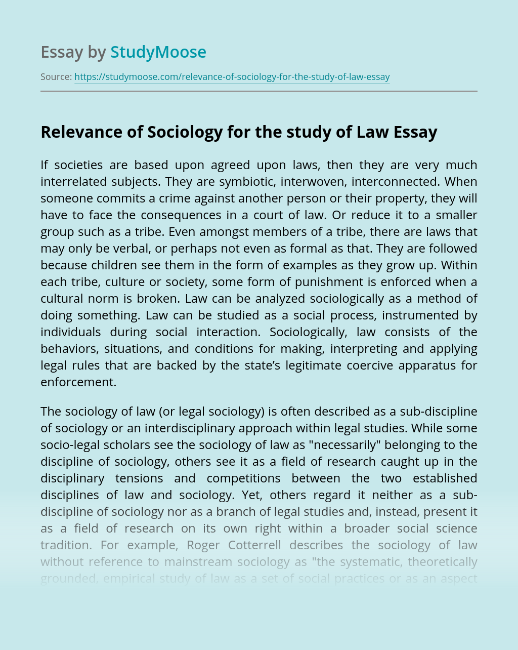 Relevance of Sociology for the study of Law