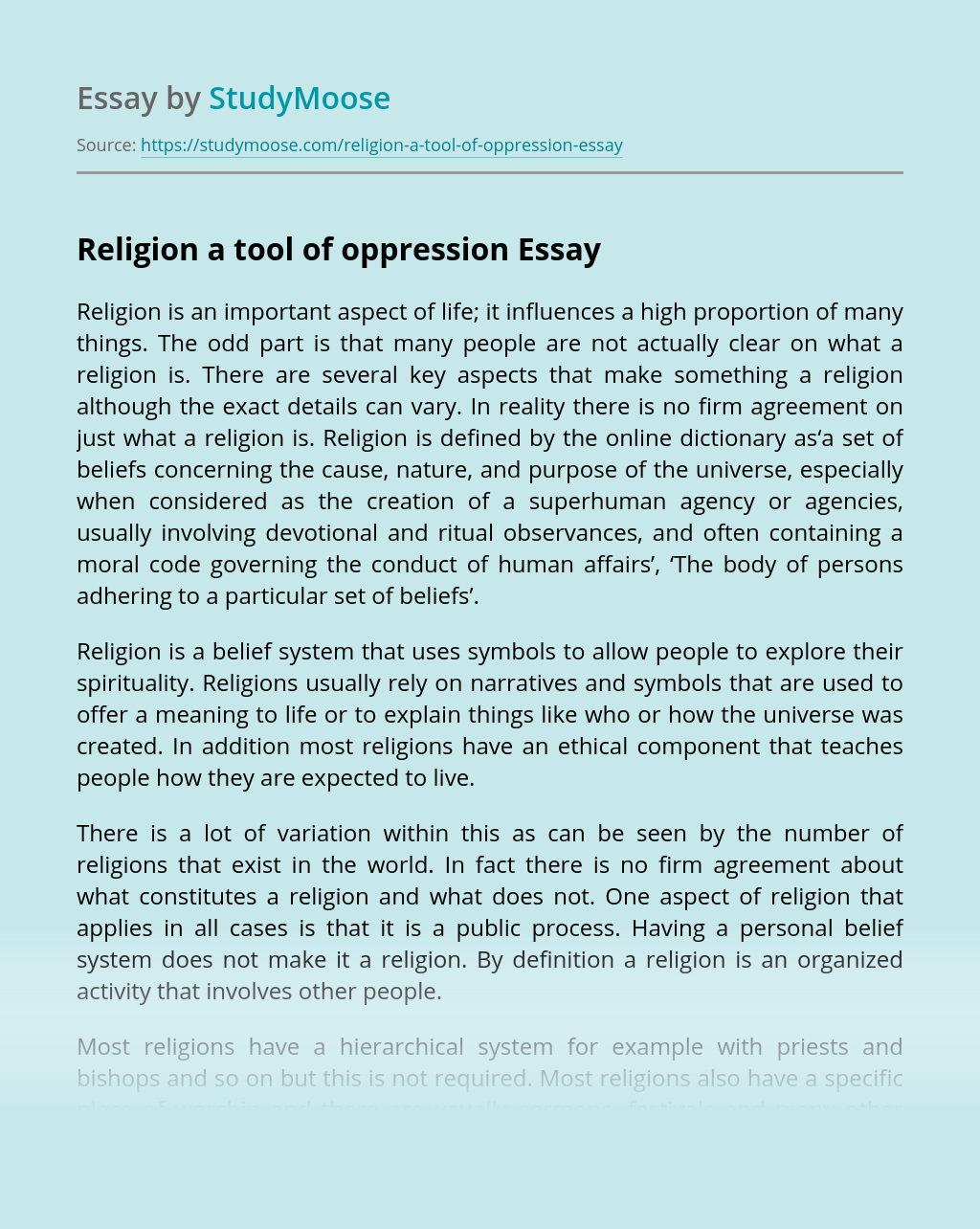 Religion a tool of oppression