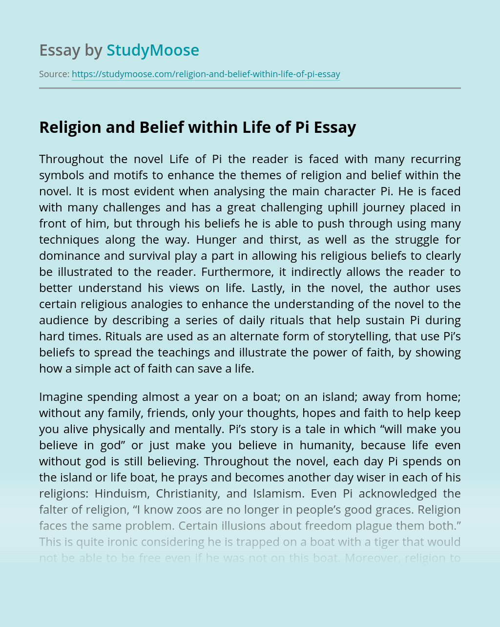 Religion and Belief within Life of Pi