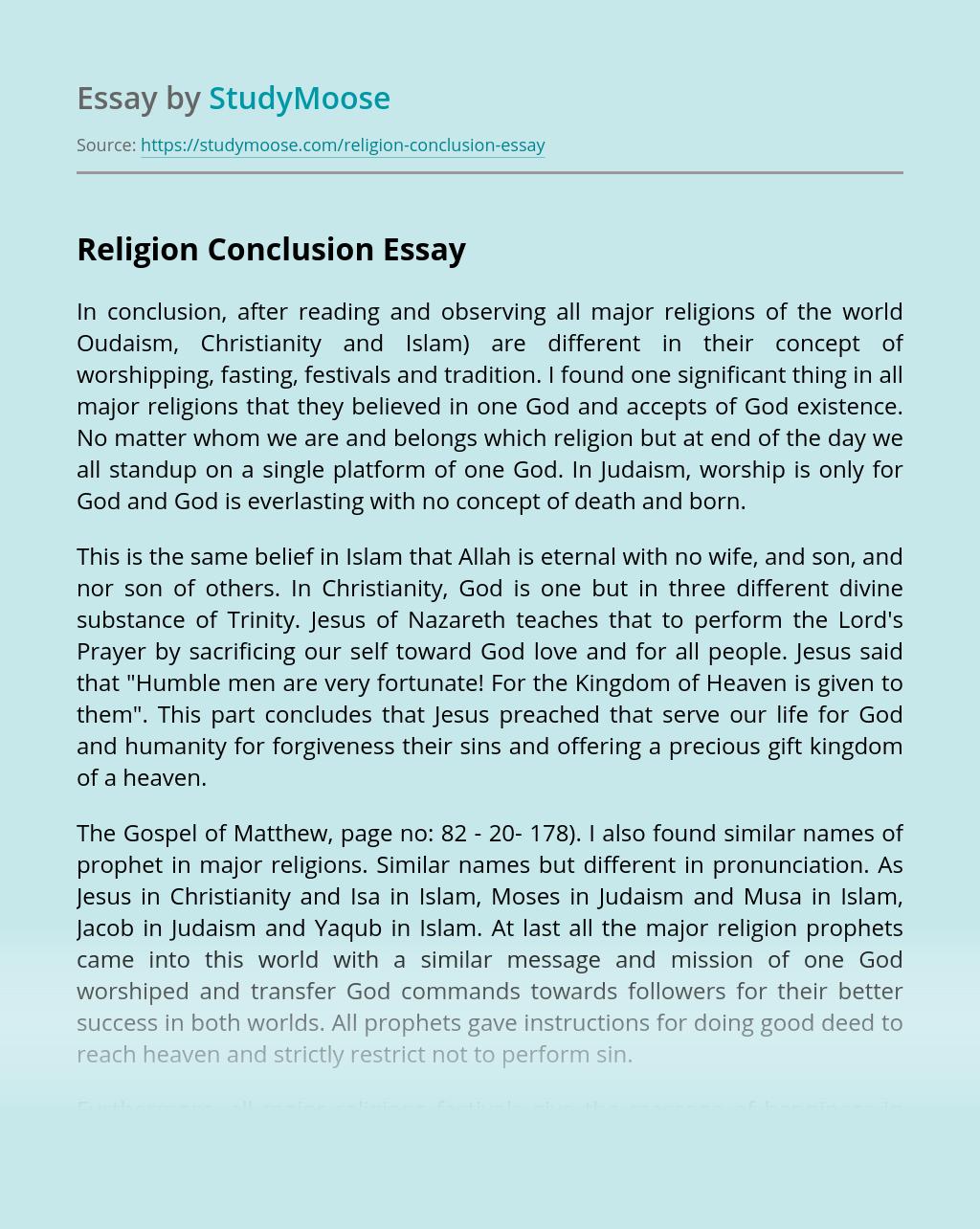 Religion Conclusion
