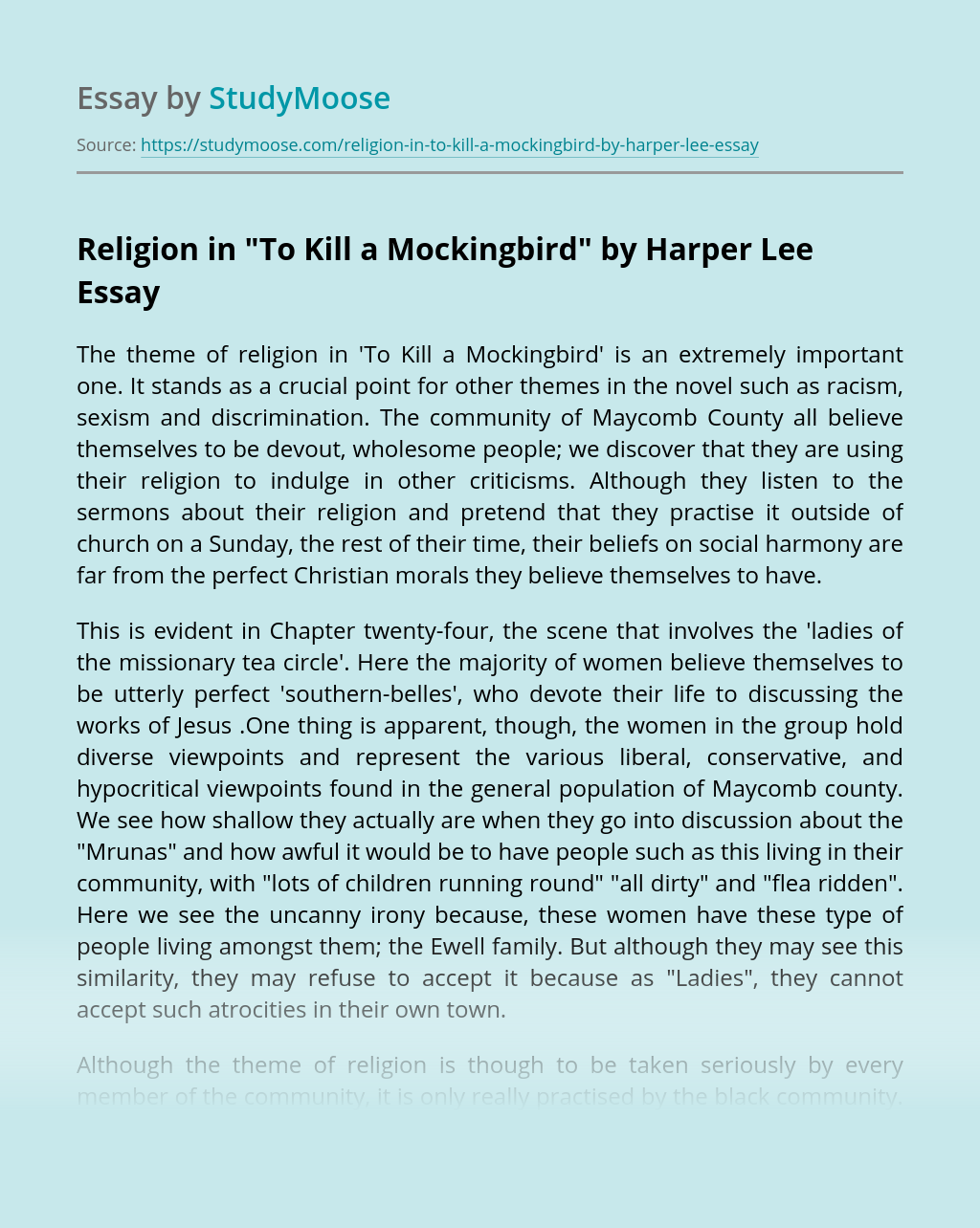 "Religion in ""To Kill a Mockingbird"" by Harper Lee"