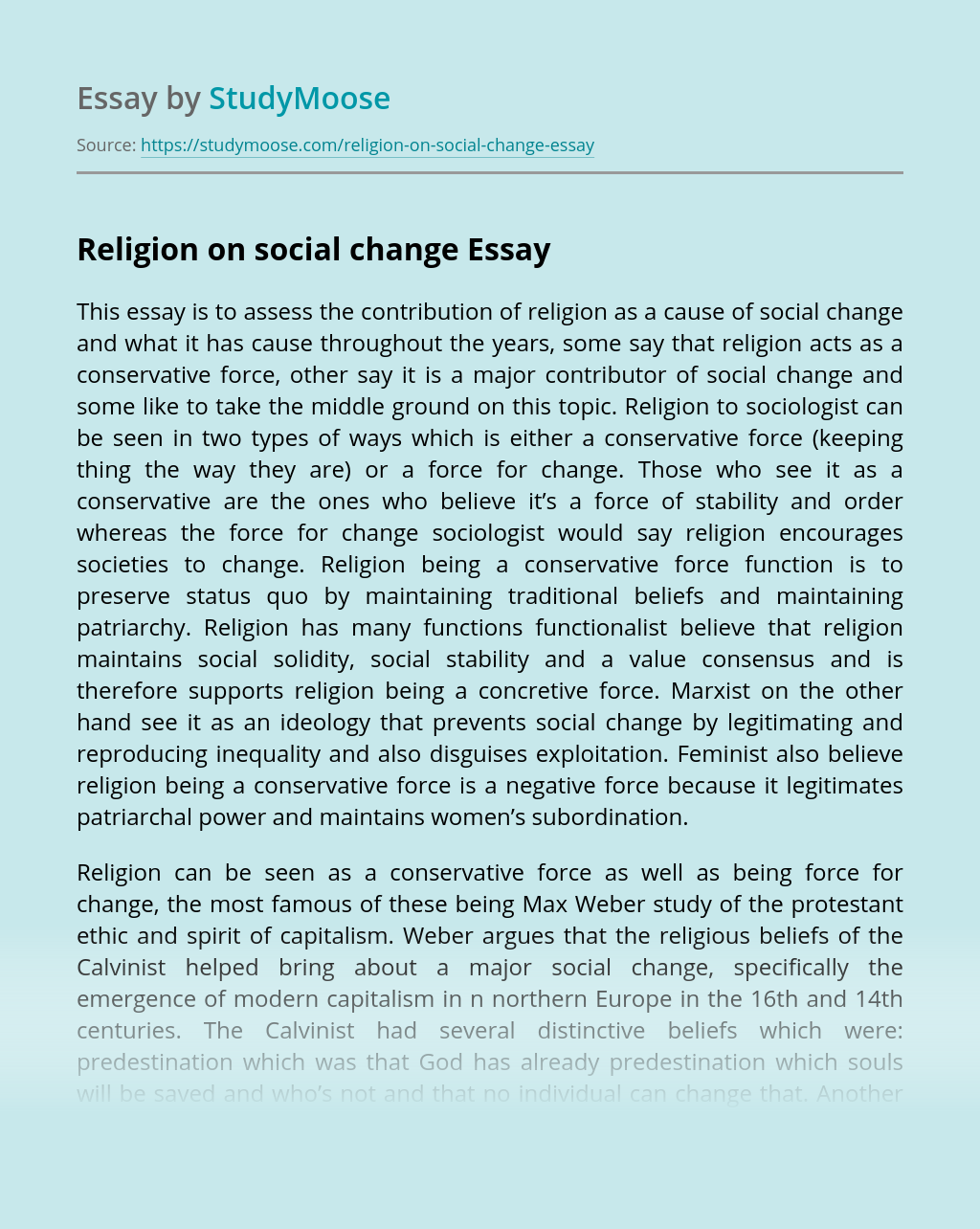 Religion on social change