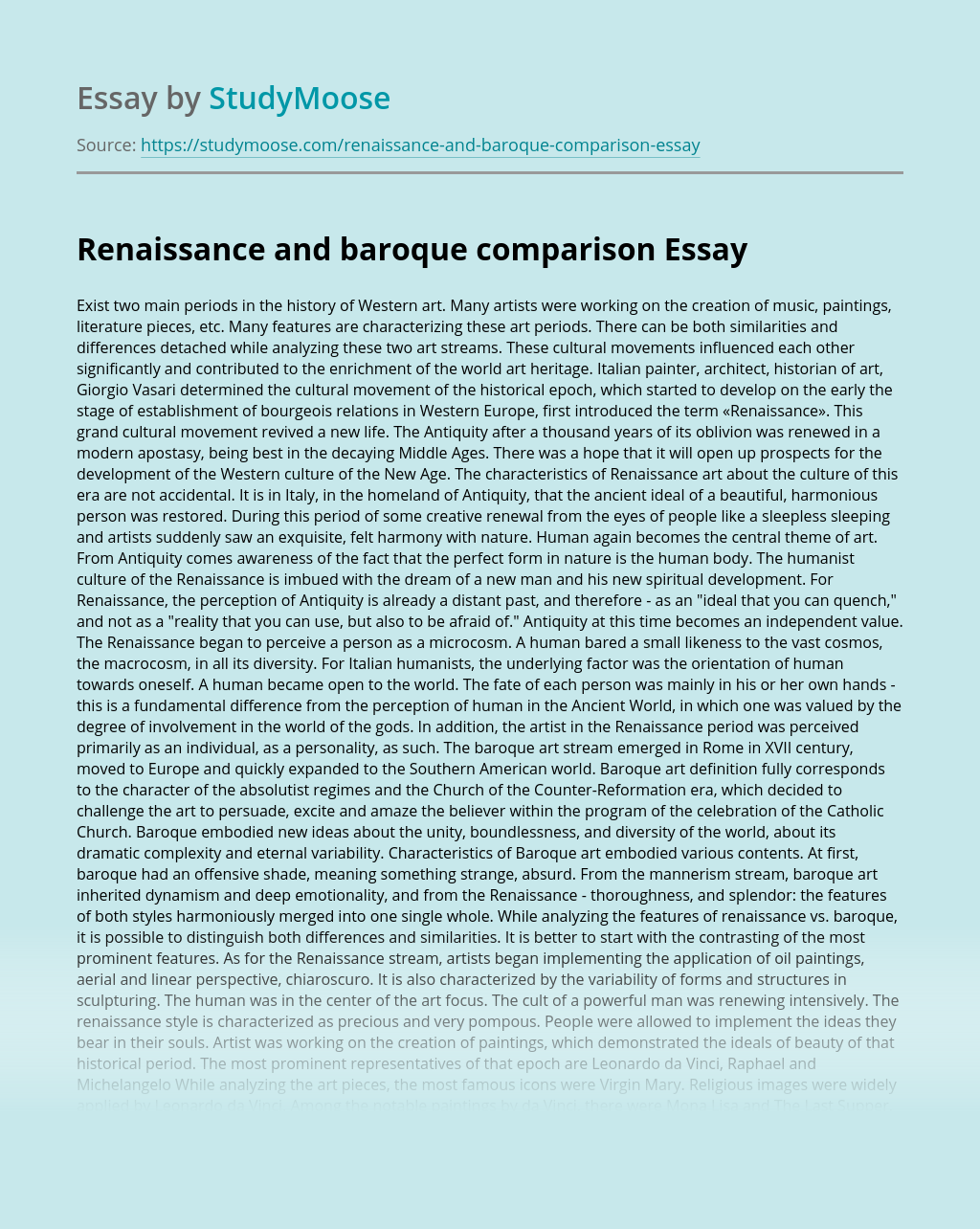 Renaissance and baroque comparison